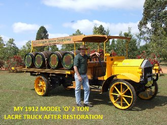 my 1912 model 'o' 2 ton lacre truck after restoration